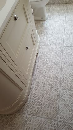 A close up of the Mr. Jones' tiles from Laura Ashley and our Burlington vanity unit