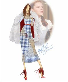 Michael Anthony - The Wizard of Oz Dorothy Couture Fashion, Fashion Art, Fashion Beauty, Girl Fashion, Fashion Dresses, Runway Fashion, Fashion Design, Dress Sketches, Fashion Sketches