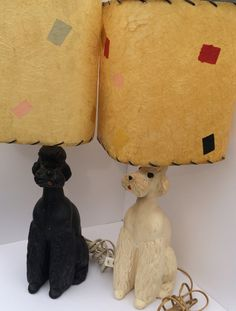RESERVED Mid-century Chalkware Poodle Lamps Black and White with Original…