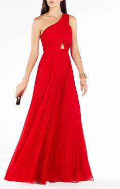 Gwendolyn One-Shoulder Pleated Gown