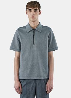 YANG LI Men's Houndstooth Polo Shirt in Black. #yangli #cloth #