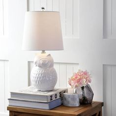 "Hoot 20.5"" Ceramic Mini Table Lamp, White Owl by JONATHAN Y"