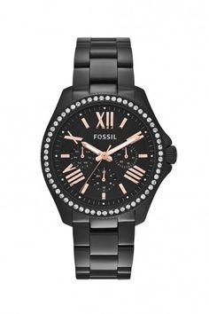 Fossil Cecile Black dames horloge AM4522   JewelandWatch.com