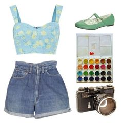 """Colourful"" by julietrebour ❤ liked on Polyvore featuring Levi's and Topshop"