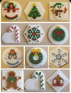 Wholepics -- Wholepics – christmas in hama beads models objects for fir – Stéphanie PEYRONNEAU - Perler Bead Templates, Diy Perler Beads, Perler Bead Art, Melty Bead Patterns, Hama Beads Patterns, Beading Patterns, Christmas Perler Beads, Art Perle, Motifs Perler