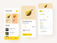 Exotic Fruit Store designed by Alex Pesenka. Connect with them on Dribbble; the global community for designers and creative professionals. Design Android, App Ui Design, Food Design, Webdesign Inspiration, App Design Inspiration, Daily Inspiration, Interface Design, Ui Design Mobile, Design Typography