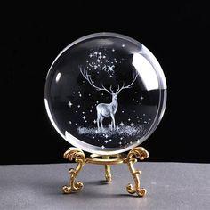 Home Decor Accessories, Decorative Accessories, Wapiti, 3d Laser, Crystal Decor, Glass Ball, Glass Globe, Crystal Ball, 3d Crystal