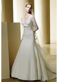 2da16cb621fb8 Elegant A-Line V-Neck Embroidering Long-Sleeves Organza Wedding Dresses