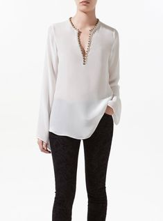 Zara blouse with fantasy collar, £39.99 - How To Dress For A Top Heavy Body Shape - Woman And Home