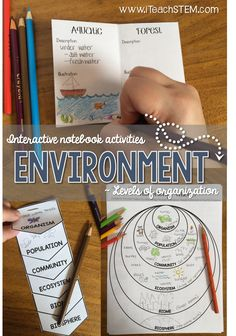 These interactive notebook activities would be good for students and would be used to learn about the environment and to visually see how each interacts or affects another. Biology Lessons, Teaching Biology, Science Lessons, Ap Biology, Life Science, Science Resources, Science Education, Science Activities, Physical Science