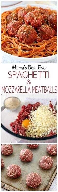 Mama's Best Ever Spaghetti and Mozzarella Meatballs #meatballs #meatballrecipes #italianfood #cooking #comfortfood #recipes #spaghettiandmeatballs