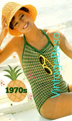 Digital Pattern - PdF - 1970s Checkered Bathing Suit KNITTING Pattern Sexy Swimsuit Maillot Vintage One Piece Swimwear VintageBeso by VintageBeso on Etsy