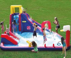 Fun and safe water slide with cannon and basketball hoop.Price: $559.95