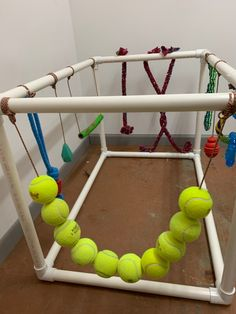Puppy play gym helps puppy's get accustomed to everyday items and have something fun to chew on. Sold without toys. With toys extra ** Whelping Puppies, Whelping Box, Toy Puppies, Dogs And Puppies, Best Toys For Puppies, Doggies, Dog Kennels, Puppy Playground, Puppy Playpen