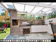 Utekök Gabion Wall, Outdoor Kitchen Design, Pergola, Porch, Garage Doors, Cottage, Outdoor Decor, Patio Ideas, Home Decor