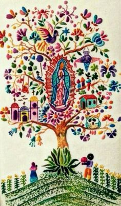 Our Lady of Guadalupe Mexicanos Guadalupanos Catholic Art, Religious Art, Madonna, Saint Esprit, Mexican Embroidery, Queen Of Heaven, Mama Mary, Blessed Mother Mary, Cross Stitch Art