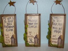 Set of 3 New Country Primitive Wood Outhouse Bathroom Home Decor Signs | eBay