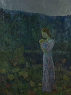 Veikko Vionoja: Äiti ja lapsi, 1944, öljy, 104x80 cm - Hagelstam A136