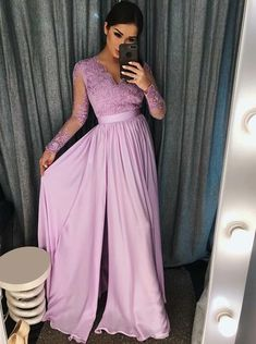 Long sleeve prom dress with slit. It can be made in other colors,please contact us or Satin Sleeve Length Details:Zipper Lined:Yes Bra:Yes Color:Lilac/Navy/Burgundy/Royal Blue,Pink,Red,Ivory Lavender Prom Dresses, Bridesmaid Dresses With Sleeves, Strapless Prom Dresses, Elegant Prom Dresses, Prom Dresses Long With Sleeves, Prom Dresses Blue, Dress Prom, Prom Gowns, Formal Gowns
