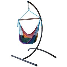 Caribbean Hammock Chair with Footrest and C Stand (Rainbow), Multi, Patio Furniture (Polyester)