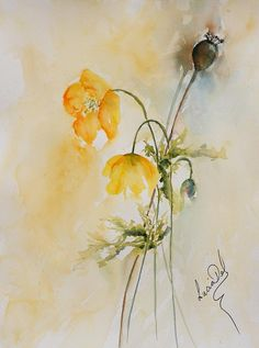 Poppies And Bud Painting
