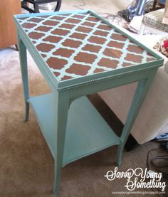 Finished Project at Savvy Young Something: Stenciled Chalk Paint Table Chalk Paint Table, Chalk Paint Furniture, Furniture Projects, Furniture Makeover, Diy Furniture, Refinished Furniture, Chalk Painting, Repurposed Furniture, Furniture Inspiration