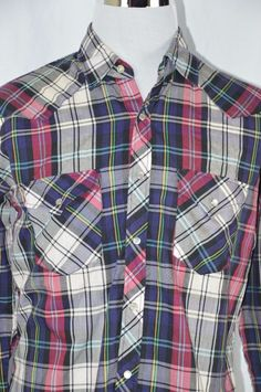 Open Trails Mens Large Red White Blue Plaid Long Sleeve Pearl Snap Shirt Western #OpenTrails #ButtonFront