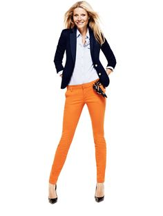 fitted navy blazer + chambray + orange pants; gwyneth paltrow for lindex