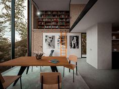 A 'House for a Photographer' by Hyde + Hyde Architects - dining room and library