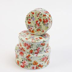 Floral storage tins set of 3 round cake #biscuit #kitchen #flower baking tea shop,  View more on the LINK: http://www.zeppy.io/product/gb/2/351433757015/
