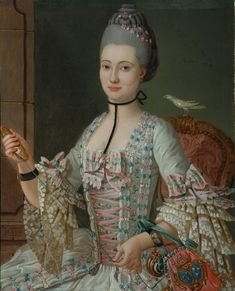 Portrait d'Elizabeth de la Vallee de la Roche (faisant des Noeuds) par Michel-Pierre Hubert Descours