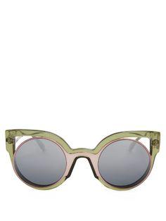 Fendi Bi-colour round-framed sunglasses