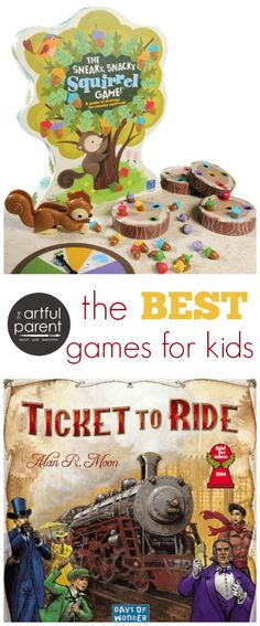 The best kids board games and card games with recommendations by age--toddlers, preschoolers, and school-age children. Great list of the best family games!
