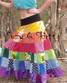 Rainbow Patchwork Gypsy Skirt by suzyQskirts on Etsy. $109.00, via Etsy.