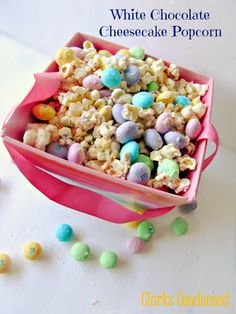 White Chocolate Cheesecake popcorn #ClarksCondensed #Easter