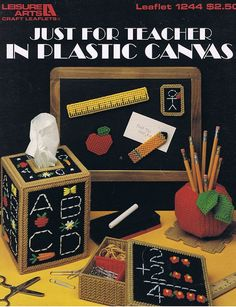 Just For Teacher Plastic Canvas Back to by howtobooksandmore, $3.00