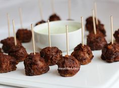 Chorizo-Spiced Lamb and Date Mini Meatballs with Cilantro Dipping Sauce {Plus A Giveaway!}