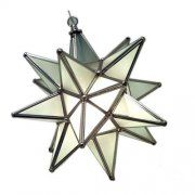 """Hanging Star Light Fixture, Frosted Glass, Silver 12"""""""