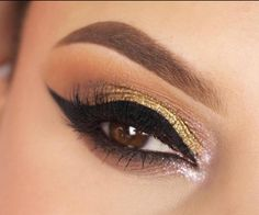 Expressyour inner goddess with this stunning lookthat easily transitions from day to night! This look is complimented with a metallic, light gold sparkle
