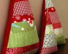Bright Patchwork Stripes Christmas Tree Plush Pillow Set of 3. $24.00, via Etsy.