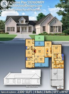 Architectural Designs Exclusive Farmhouse House Plan 510160WDY featuring split bedrooms and a large open-concept layout that gives you 2,500  square feet of living space with 4 bedrooms and 3 full baths. Architectural Designs has been family owned