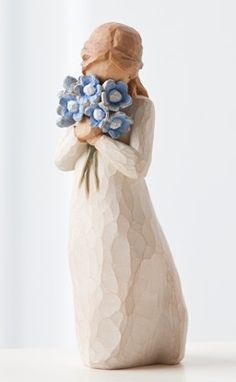 Artist Susan Lordi hand carves her entire Willow Collection and original Forget Me Not angel. From angels and figurines to collectables her Willow Tree® friendship collection for Demdaco is meaningful to giver and receiver Willow Tree Susan Lordi, Willow Tree Engel, Paper Clay, Willow Tree Statues, Willow Figurines, Willow Tree Figuren, Principe William Y Kate, Willow Tree Wedding, Forget Me Not