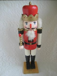 #Nutcracker Red Toy Soldier Figure Decoration Wooden Painted Holiday Decor