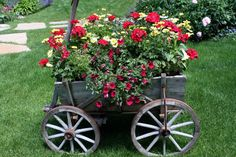 Wagon flower garden - so cute!