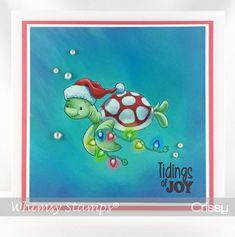 This is Turtle Christmas Lights illustrated by me for Whimsy Stamps. Beach Christmas, Christmas Art, Christmas Lights, Christmas Ornaments, Christmas Drawing, Christmas Paintings, Turtle Images, Beach Drawing, Hand Made Greeting Cards