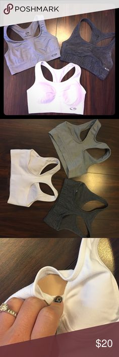 NWOT- 3 for 1 Sports Bras! NWOT- 3 for 1 Sports Bras! All 3 bras for the price of 1! Only been worn to try on & in great condition! the white bra has removable breast pads, the two grays ones are not padded. Size Small (all 3 of them) Colors: White, Dark Gray, Light Gray. Open to offers, but do NOT offend me with low ball offers. Champion Intimates & Sleepwear Bras