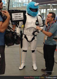 T-shirt lied. Darkside have no cookies. Cookie monster stormtrooper cosplay. Brilliant.