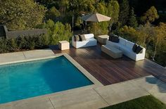 outdoor seating by pool