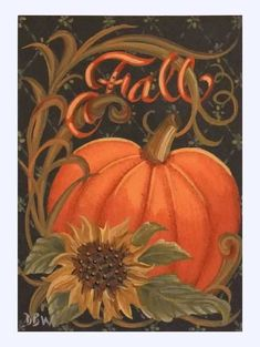 ACEO Original Acrylic Painting folkart pumpkin sunflower autumn fall calligraphy is part of Fall Painting crafts - Pumpkin Canvas Painting, Autumn Painting, Autumn Art, Diy Painting, Painting On Wood, Canvas Art, Fall Paintings, Wood Paintings, Pallet Painting