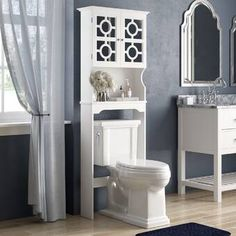 Great for Robinette 24 W x 68 H x 9 D Over the Toilet Storage by Willa Arlo Interiors storage-sale from top store Over The Toilet Cabinet, Over Toilet Storage, Toilet Shelves, Bathroom Shelves Over Toilet, Bathroom Storage, Bathroom Ideas, Wall Shelves, Toilet Room, Cabinet Shelving